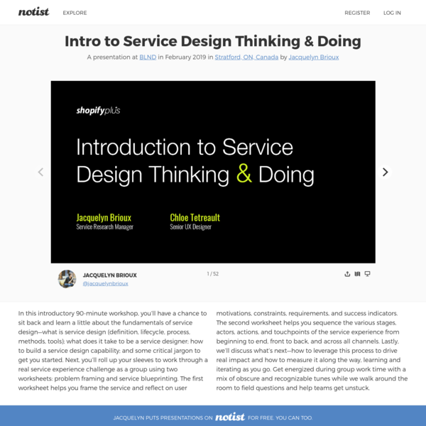 Intro to Service Design Thinking & Doing by Jacquelyn Brioux