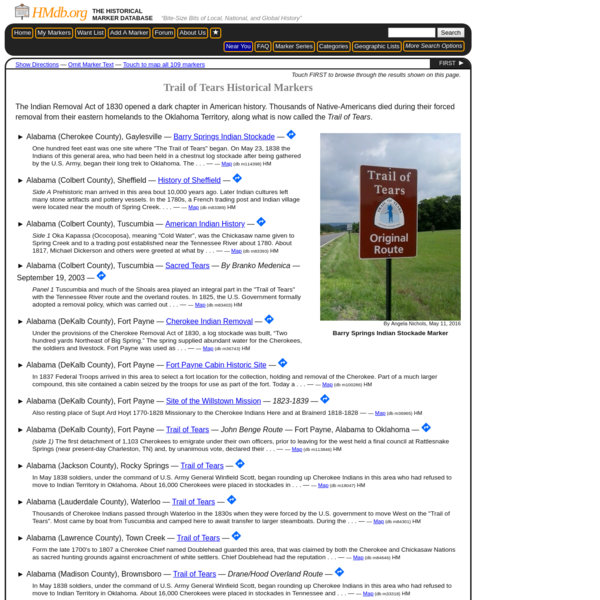 Trail of Tears Historical Markers - The Historical Marker Database