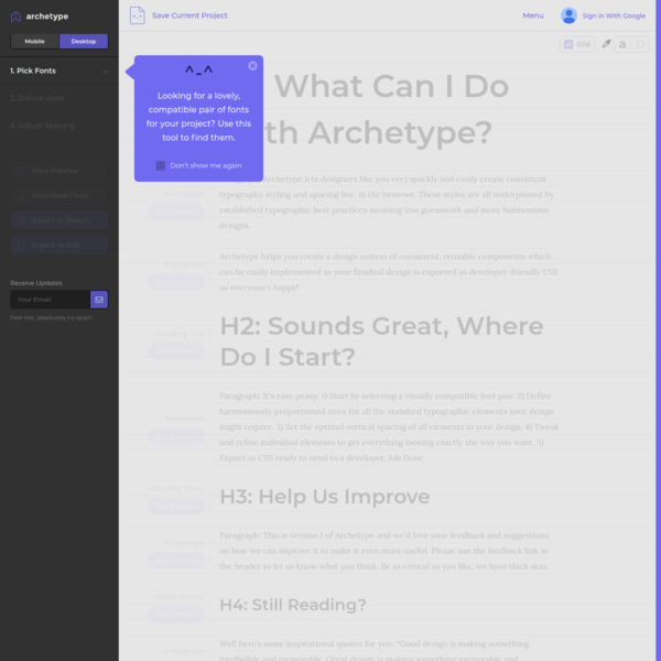 Archetype, Digital Typography Design Tool by Our Own Thing, using Google web fonts