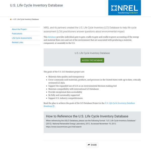 U.S. Life Cycle Inventory Database | NREL