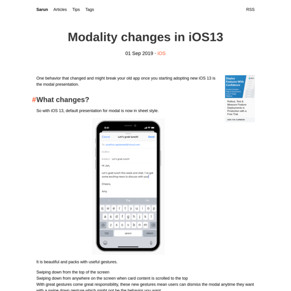 Modality changes in iOS13 | Sarun