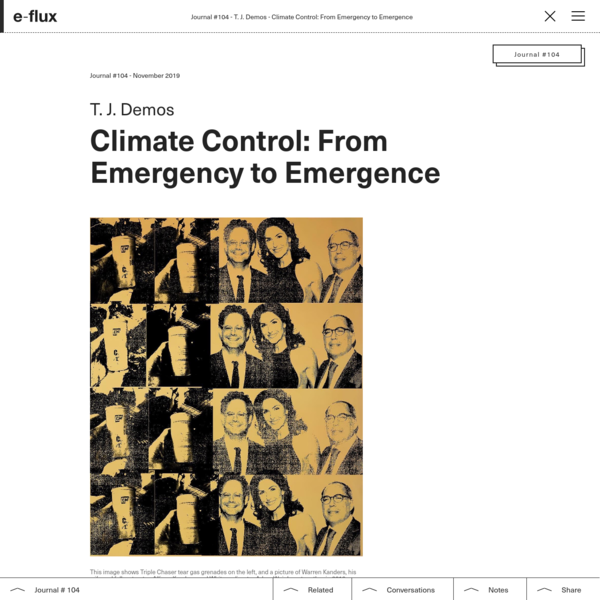 Climate Control: From Emergency to Emergence