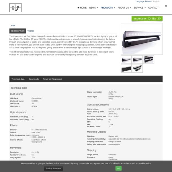 German Light Products - impression X4 Bar 20