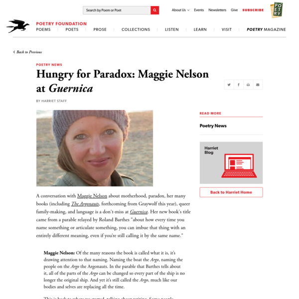 Hungry for Paradox: Maggie Nelson at Guernica by Harriet Staff