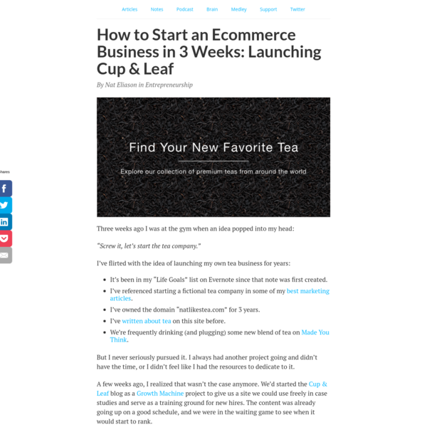 How to Start an Ecommerce Business in 3 Weeks: Launching Cup & Leaf - Nat Eliason