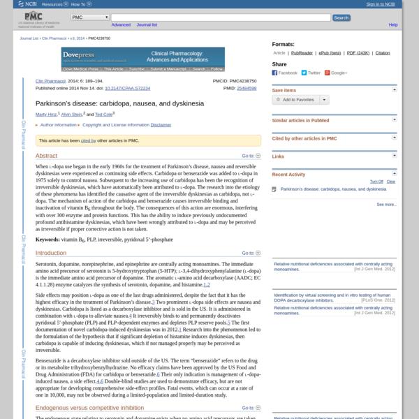 Parkinson's disease: carbidopa, nausea, and dyskinesia