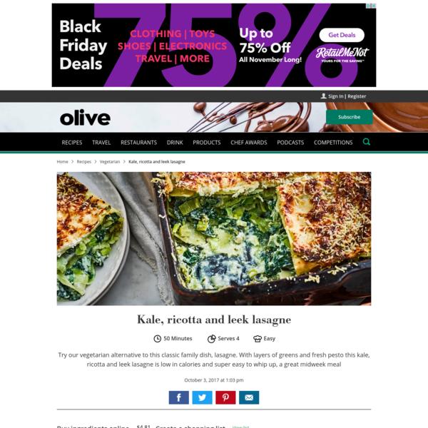 Kale, ricotta and leek lasagne