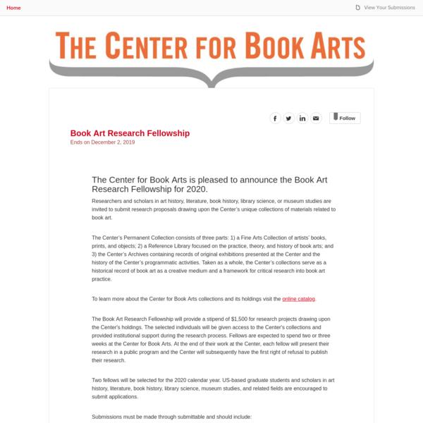 Center For Book Arts - Book Art Research Fellowship