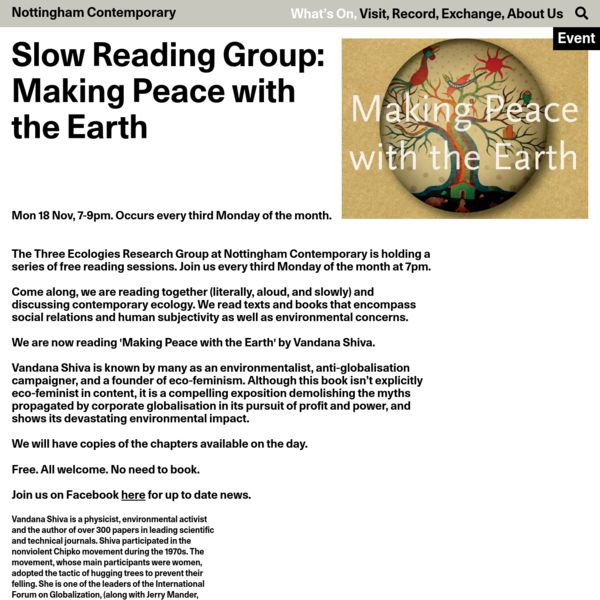 Slow Reading Group: Making Peace with the Earth