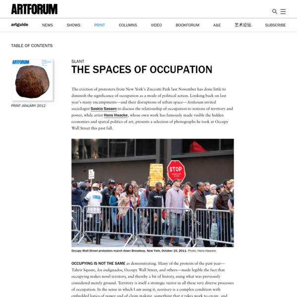 Saskia Sassen and Hans Haacke on the spaces of occupation