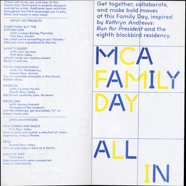 MCA Family Day<br>December program<br>Spread<br>2015<br>5 × 10 in.<br>Risograph print