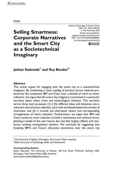 Selling Smartness: Corporate Narratives and the Smart City as a Sociotechnical Imaginary