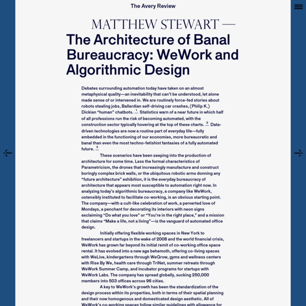 The Avery Review | The Architecture of Banal Bureaucracy: WeWork and Algorithmic Design
