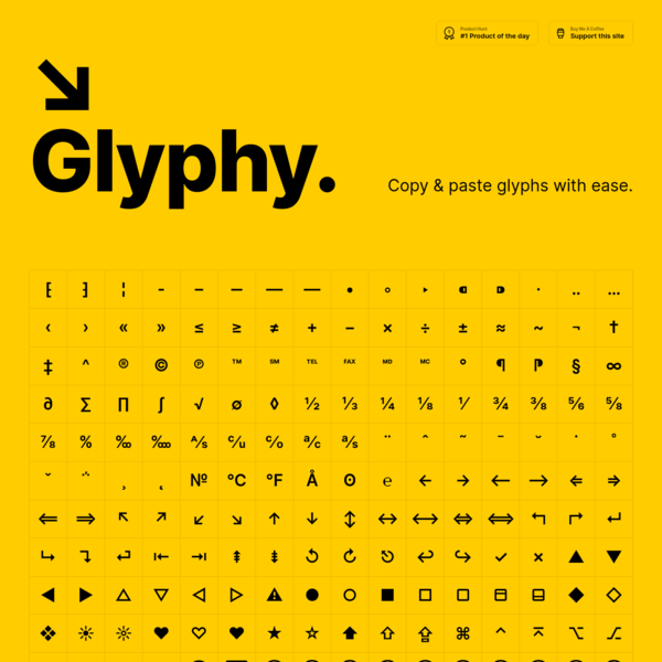 Glyphy | Copy & paste glyphs with ease