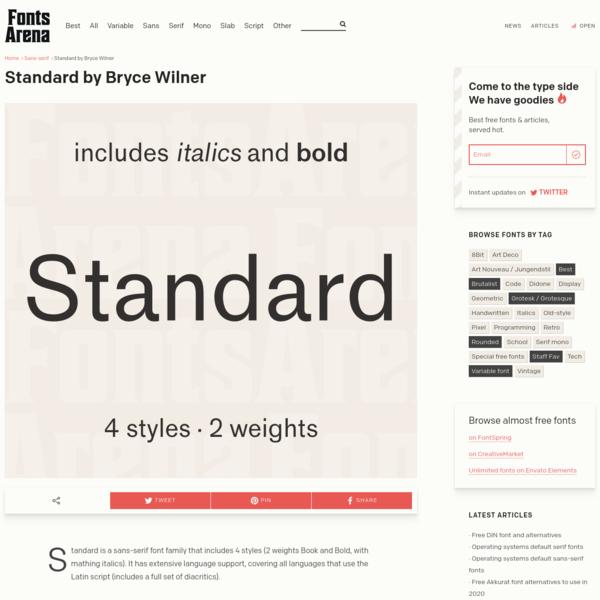 Free font Standard by Bryce Wilner - FontsArena