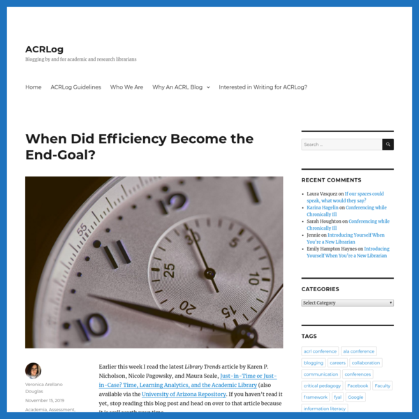 When Did Efficiency Become the End-Goal?
