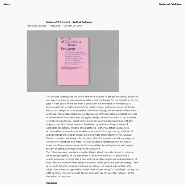 Francisco Laranjo, Modes of Criticism 4: Radical Pedagogy