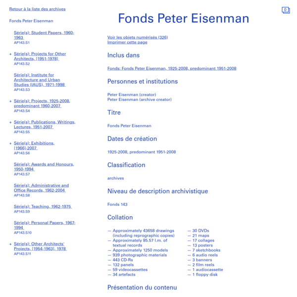 Fonds Peter Eisenman