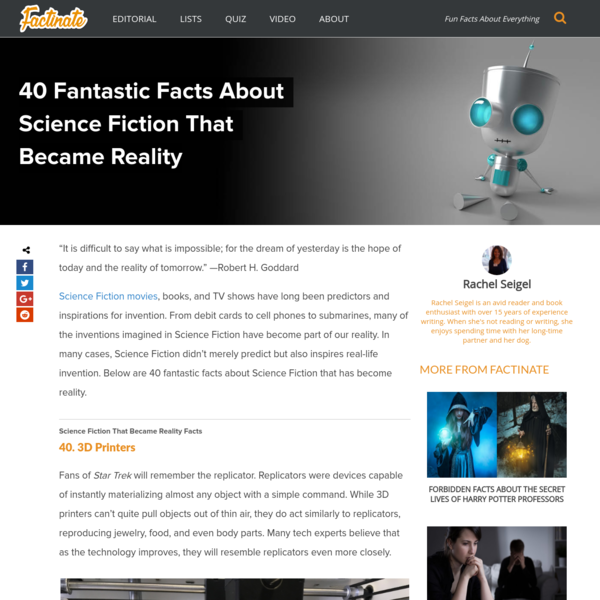 40 Fantastic Facts About Science Fiction That Became Reality