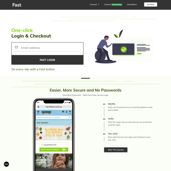 Fast | One-click sign up, login and checkout