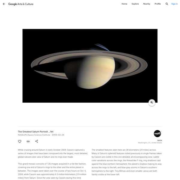 The Greatest Saturn Portrait ...Yet - NASA/JPL/Space Science Institute - Google Arts & Culture