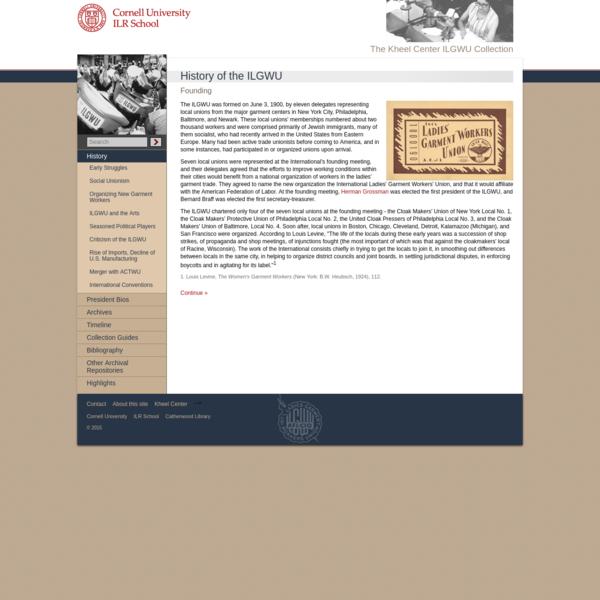 ILGWU web site - History