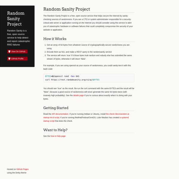 Random Sanity Project
