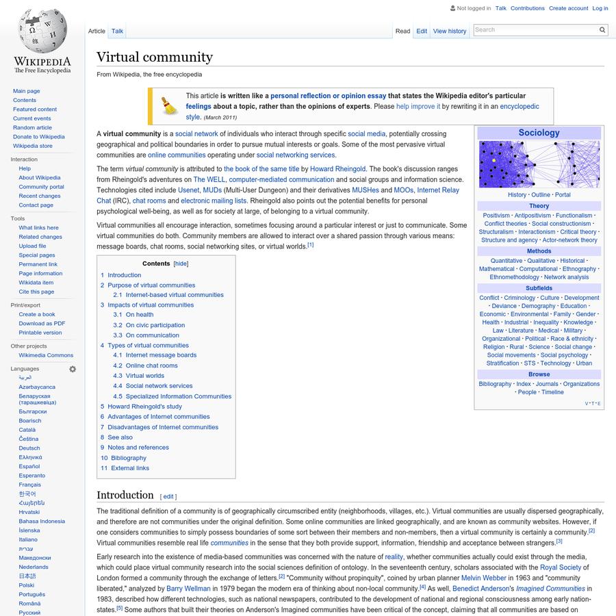 rheingolds virtual community analysis