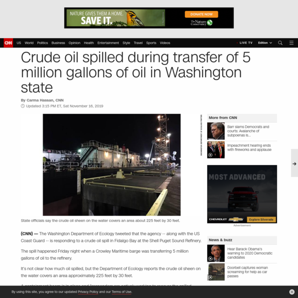 Crude oil spilled during transfer of 5 million gallons of oil in Washington state - CNN