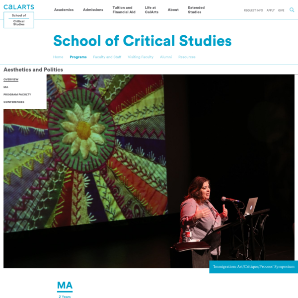 Aesthetics and Politics   CalArts School of Critical Studies