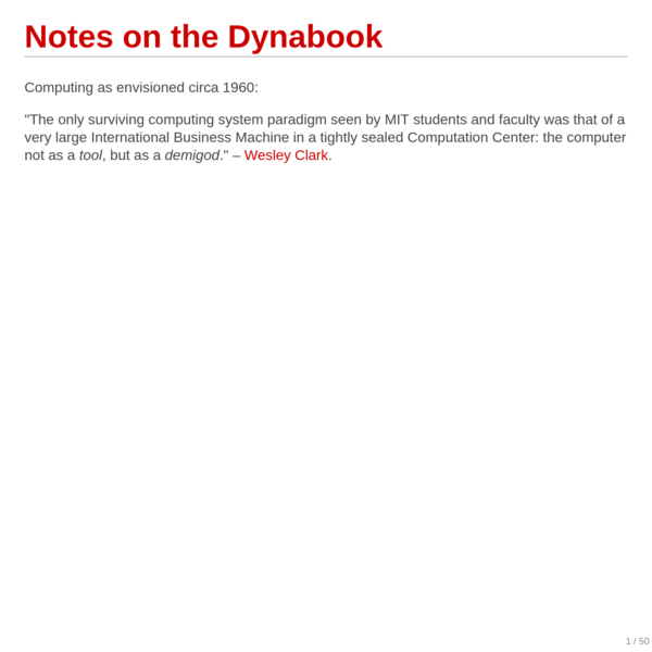 Notes on the Dynabook