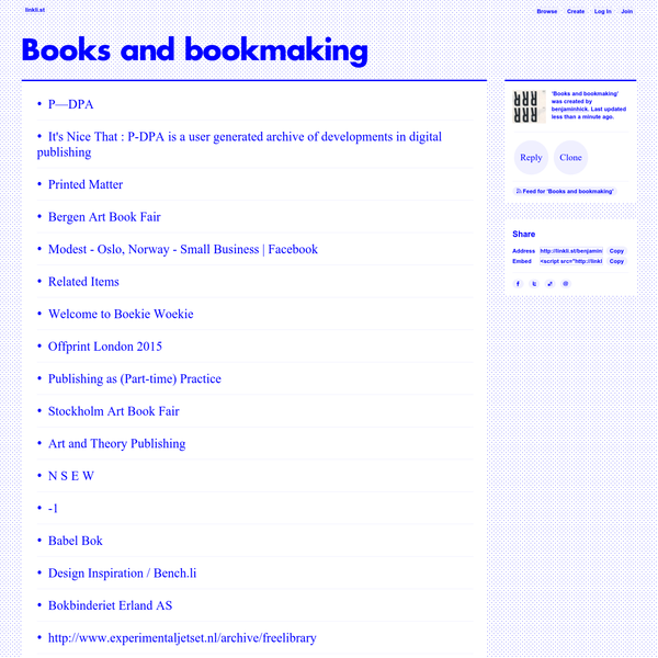 Books and bookmaking · linkli.st