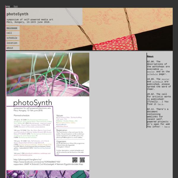 photoSynth - symposium of self-powered media art - Pécs, 13-16th june 2018.