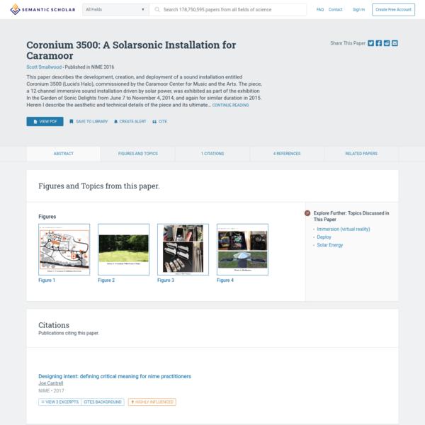 [PDF] Coronium 3500: A Solarsonic Installation for Caramoor   Semantic Scholar