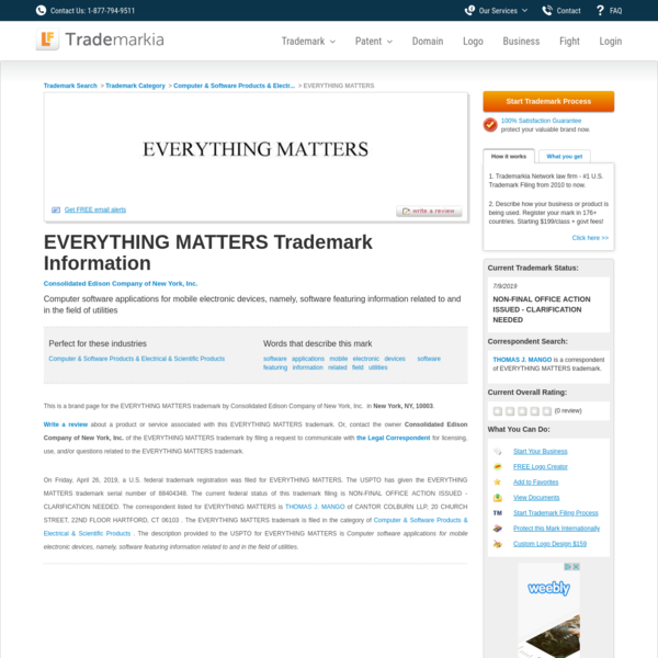 EVERYTHING MATTERS Trademark of Consolidated Edison Company of New York, Inc. Serial Number: 88404348 :: Trademarkia Trademarks