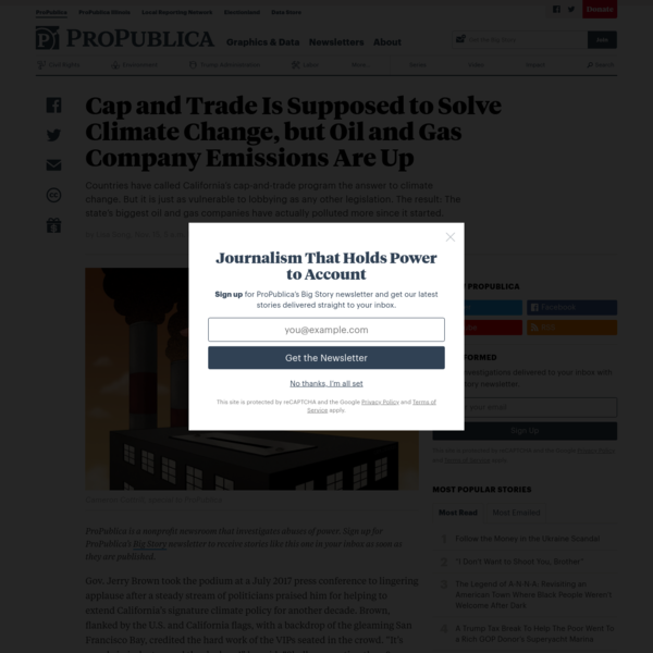 Cap and Trade Is Supposed to Solve Climate Change, but Oil and Gas Company Emissions Are Up - ProPublica