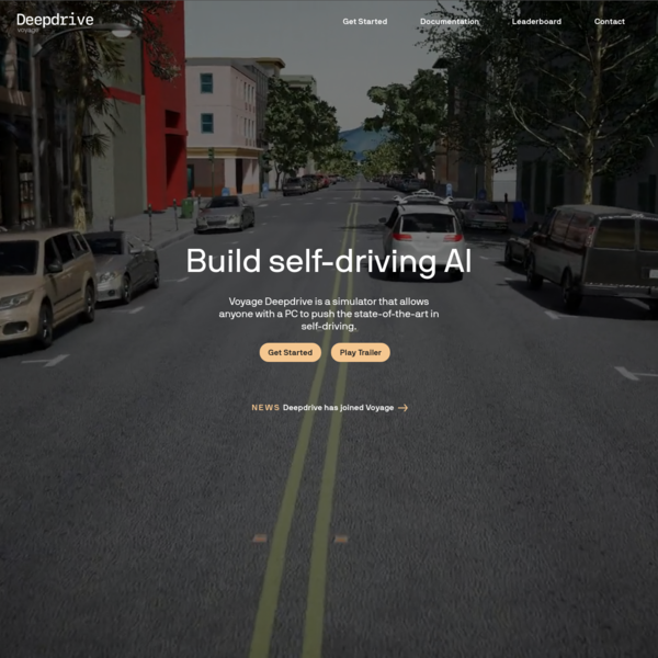 Deepdrive from Voyage - Push the state-of-the-art in self-driving