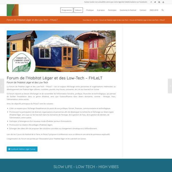 Forum de l'Habitat Léger et des Low-Tech - FHLeLT