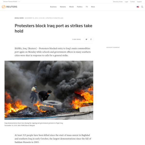 Protesters block Iraq port as strikes take hold - Reuters