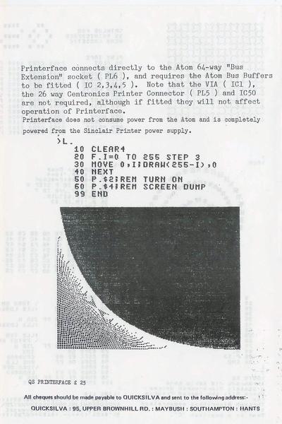 Quicksilva  Atom Printerface instructions (excerpt)