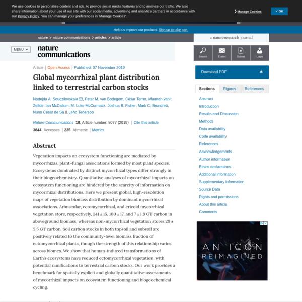 Global mycorrhizal plant distribution linked to terrestrial carbon stocks