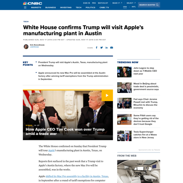 White House confirms Trump will visit Apple's manufacturing plant in Austin