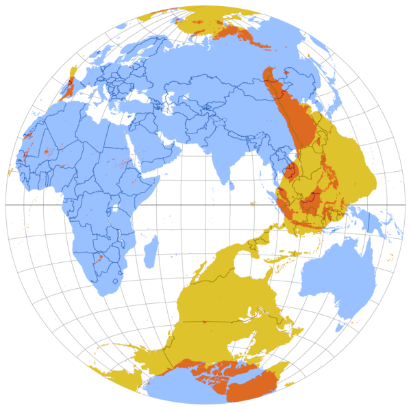 """""""This map shows the antipode of each point on Earth's surface—the points where the blue and yellow overlap are land antipodes; most land has its antipodes in the ocean. This map uses the Lambert azimuthal equal-area projection. The yellow areas are the reflections through the Earth's center of land masses of the opposite (Western) hemisphere."""""""