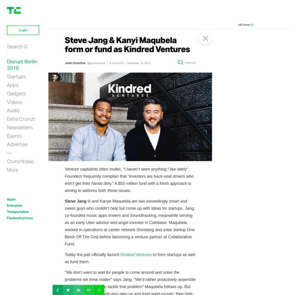 Steve Jang & Kanyi Maqubela form or fund as Kindred Ventures