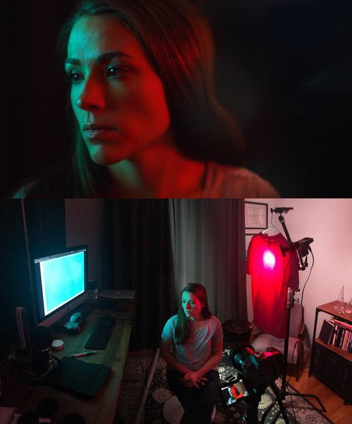 cyan/red lighting scene