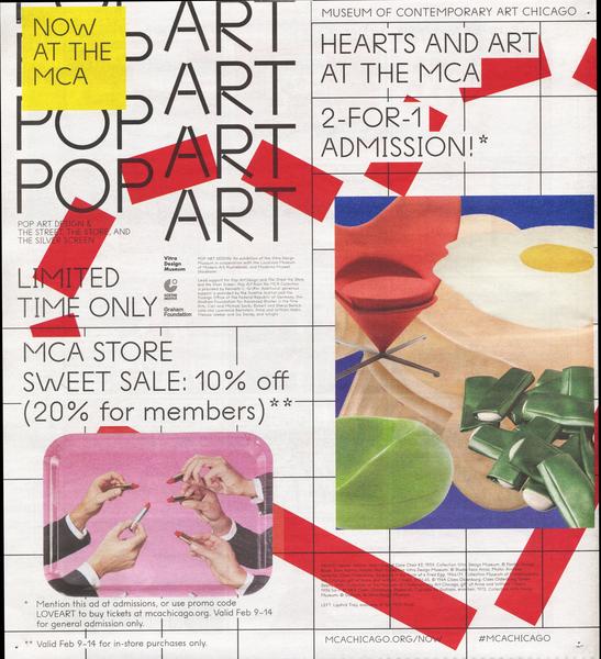 Pop Art newsprint advertisement<br>2016<br>10.25 in. × 11.25 in.
