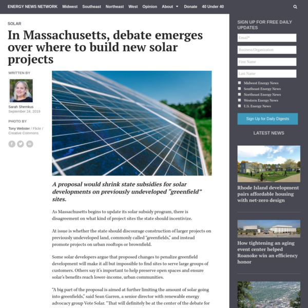 In Massachusetts, debate emerges over where to build new solar projects