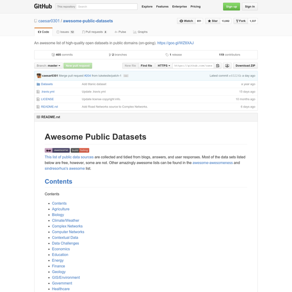 awesome-public-datasets - An awesome list of high-quality open datasets in public domains (on-going).