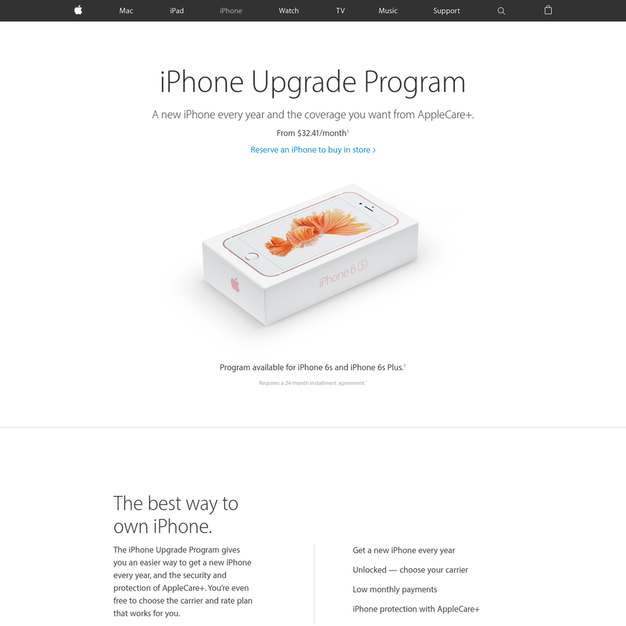 Get a new iPhone every year with the iPhone Upgrade Program. Includes AppleCare+. Reserve an iPhone to buy in store.