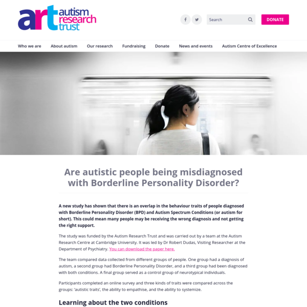 Are autistic people being misdiagnosed with Borderline Personality Disorder?